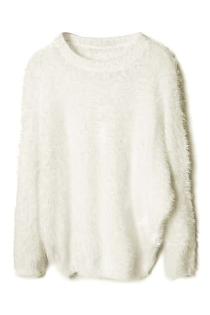 Bat-wing Sleeve White Jumper
