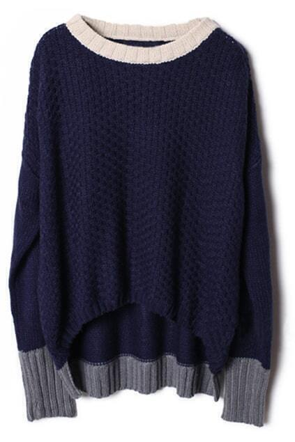 Bat-wing Sleeve Dark-blue Jumper