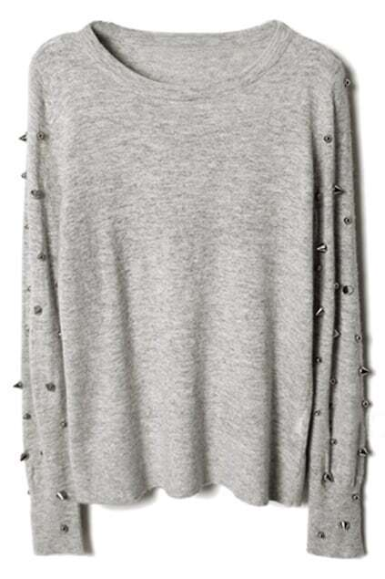 Stud Sleeve Grey Jumper