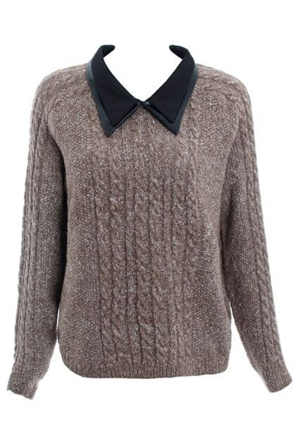 Spliced Double-layers Collar Light Coffee Jumper