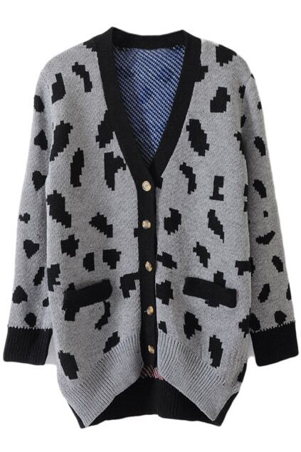 V-shape Neckline Grey Leopard Cardigan