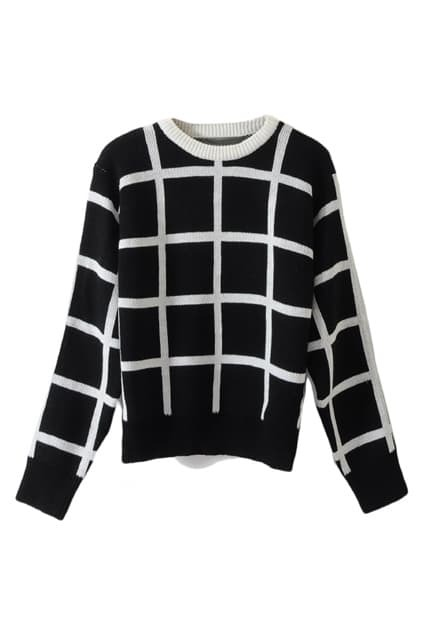 White Lines Black Sweater