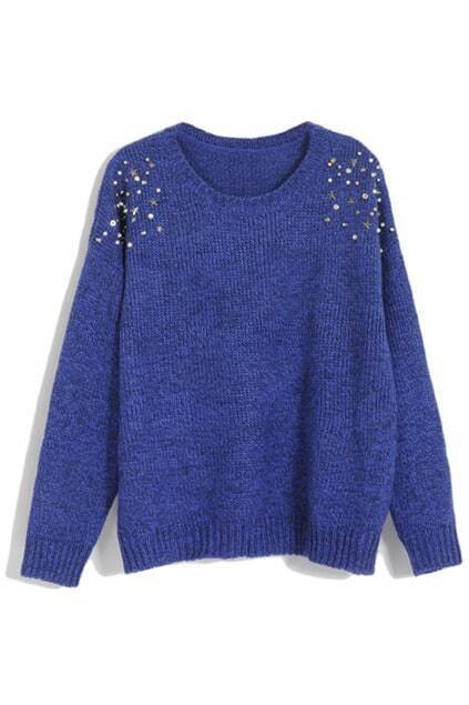 Blue Rivets Sweater