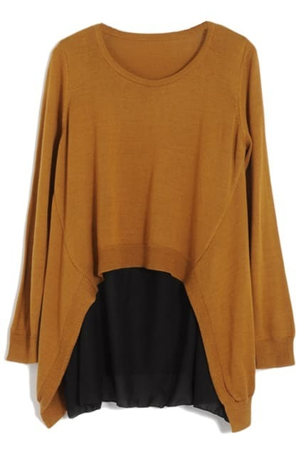Fake Two-pieces Oversized Camel Jumper