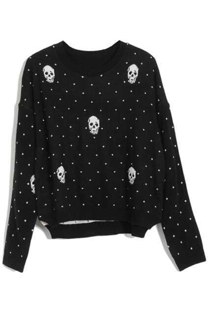 Skull Heads Black Jumper