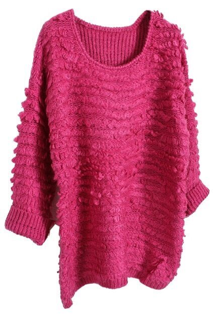 Loose Knitted Rose Jumper