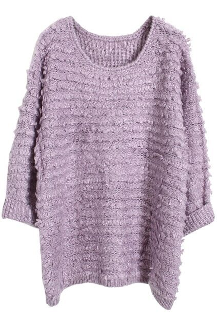 Loose Knitted Purple Jumper