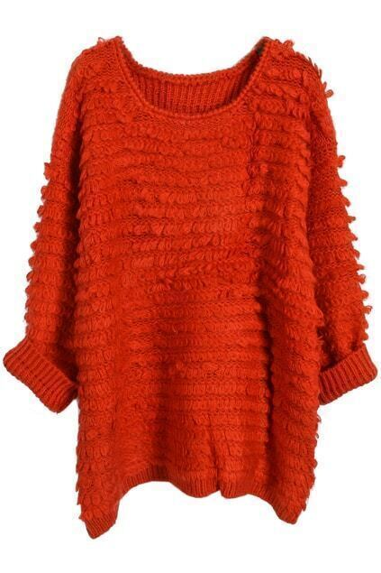 Loose Knitted Red Jumper