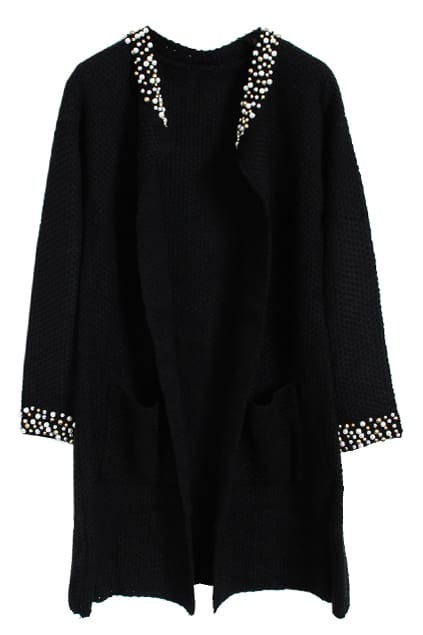 Beads Embellishment Black Cardigan
