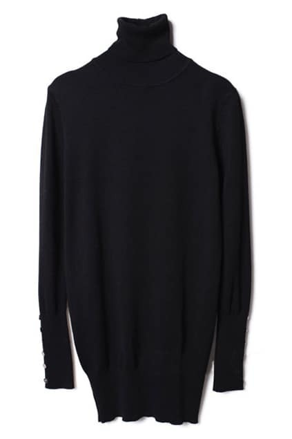 Buttoned Turtleneck Black Jumper