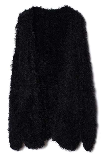 Fluffy Black Cardigan