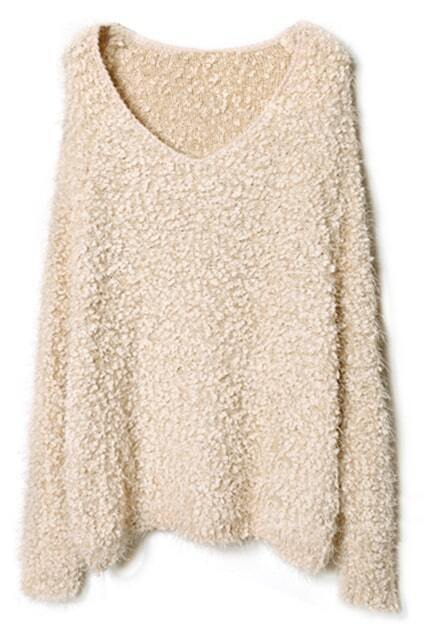 Loose V-neck Nude Jumper