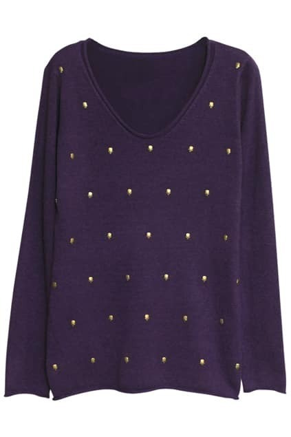 Skull Charm Purple Jumper