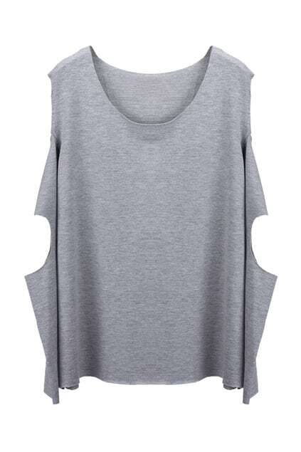 Cut-out Sleeves Grey T-shirt
