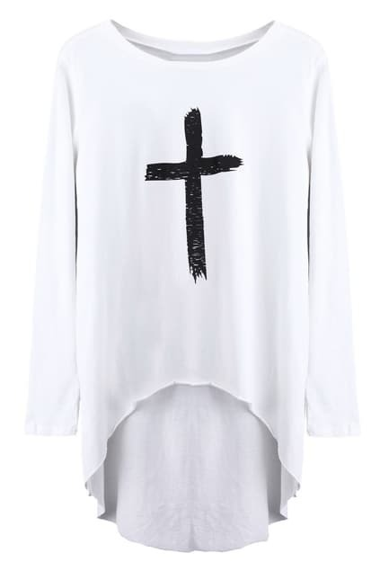 Cross Print Anomalous Hem White T-shirt