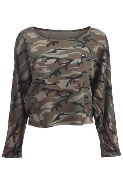 Camouflage Print Green T-shirt