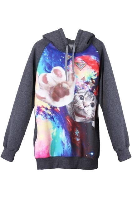 Cat Galaxy Print Dark Grey Hoodie