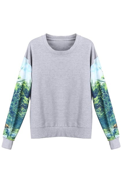 Scenery Print Grey Pullover