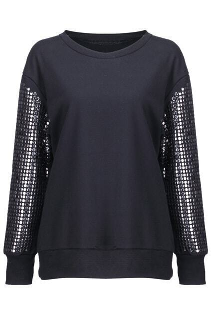 Loose Beads Embellished Sleeves Black Pullover