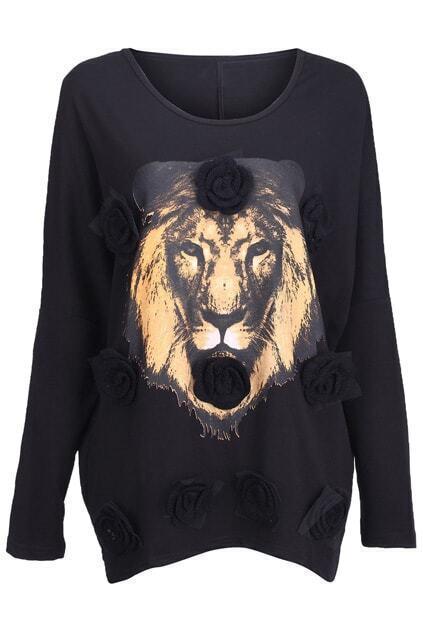 Tiger Head-print Flowers Embellished Black Pullover