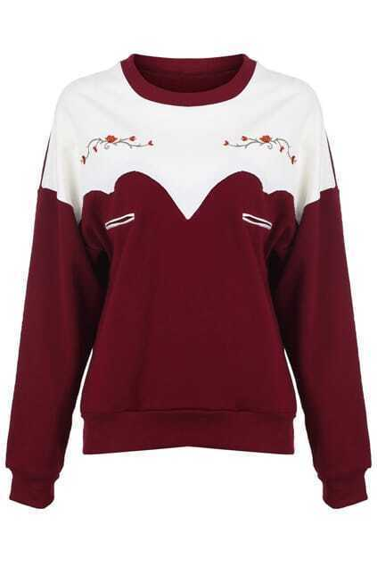 Contrast Color Flowers Print Claret-red Pullover