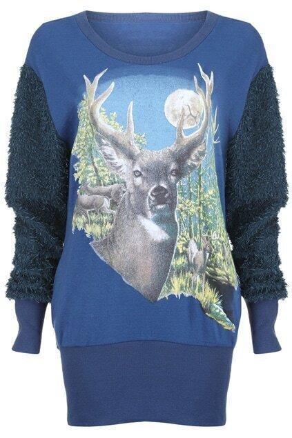 Deers Print Sequins Embellished Blue Pullover