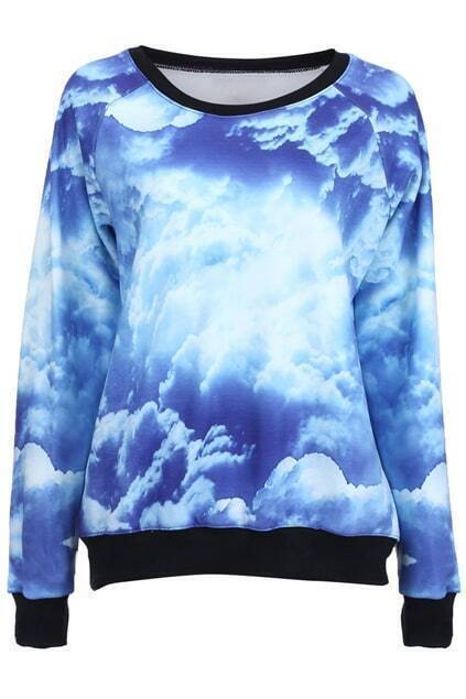 Blue Sky White Clouds Print Pullover