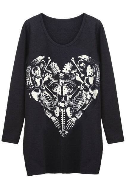 Heart Skulls Skeleton Black Pullover