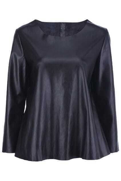 Loose Black Vinyl Pullover