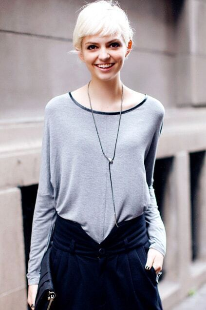 Asymmetric Metal Zipper Embellished Grey Pullover