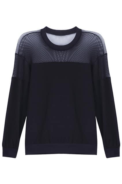 Spliced Mesh Perspective Black Pullover