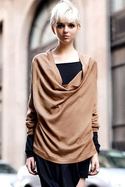 Roll Neck Whiskerings Embellished Camel Pullover