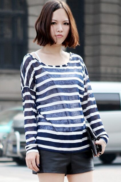 Strapless Magyar Hollow Blue-white Stripes T-shirt