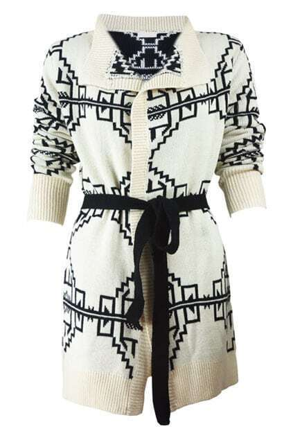 Abstract Printed Buttonless Cream White Cardigan