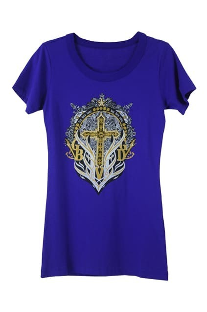 Cross And Letters Print Royalblue T-shirt