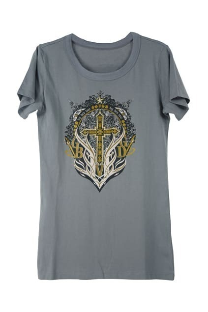Cross And Letters Print Light-grey T-shirt
