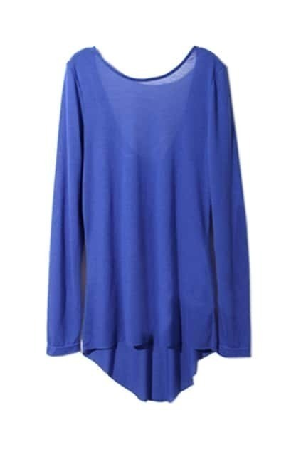 Round Neck Backless RoyalblueT-shirt