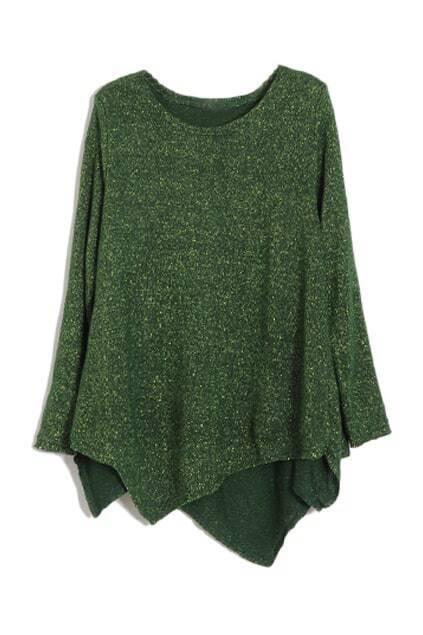 Asymmetric Hem Golden Silk Green T-shirt