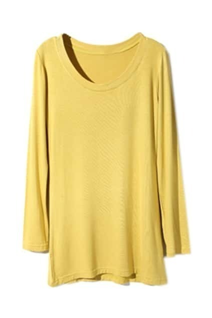 Scoop Neck Yellow Bottoming T-Shirt
