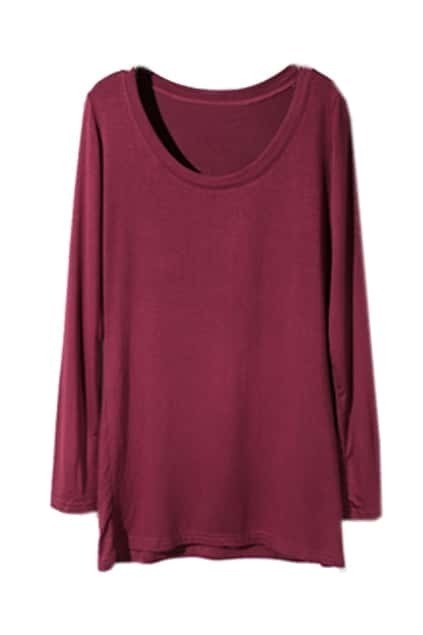 Scoop Neck Wine-Red Bottoming T-Shirt
