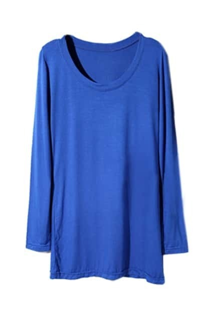 Scoop Neck Royalblue Bottoming T-Shirt