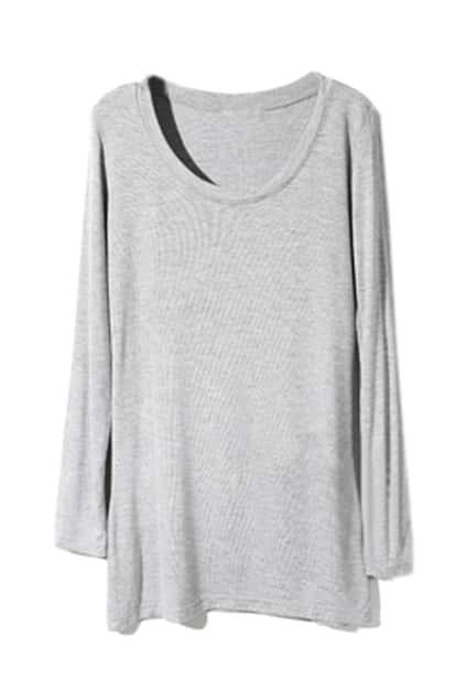 Scoop Neck Light-Grey Bottoming T-Shirt