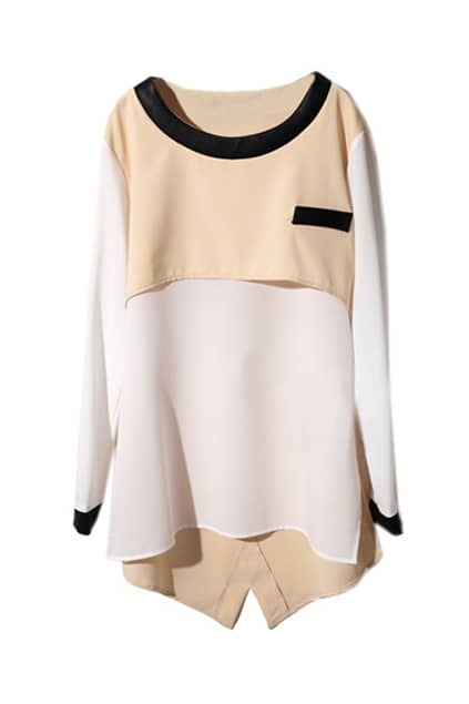 Fake Two Pieces Apricot Chiffon T-Shirt