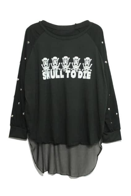 Skull And Letters Rivets-embellished Black T-shirt