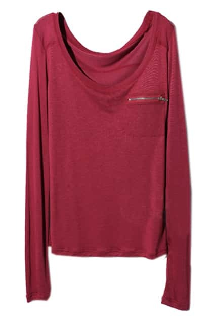 Zippered Pocket Scoop Neck Red T-shirt