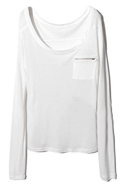 Zippered Pocket Scoop Neck White T-shirt