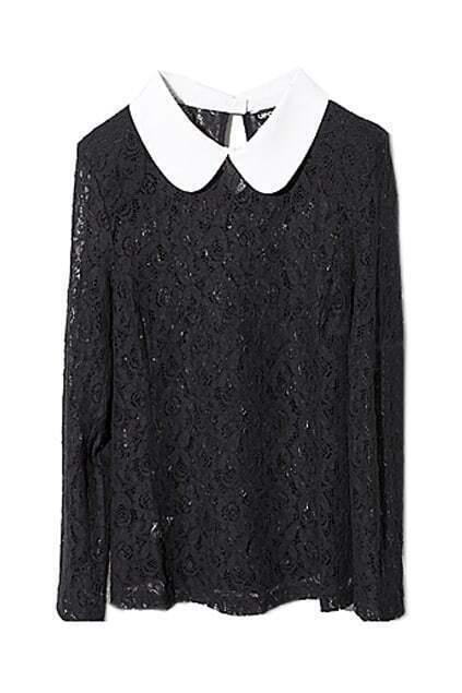 Elegant Perspective Black Lace T-shirt