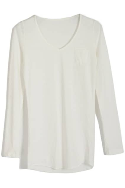 Brief V-neck White Primer Pullover