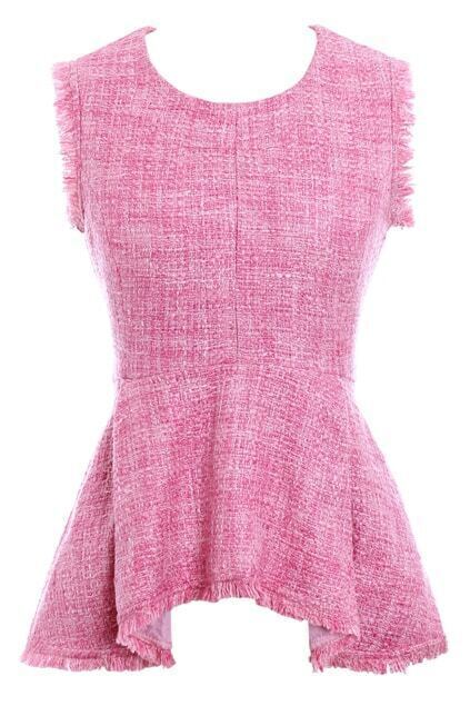 Asymmetric Flouncing Pink Woolen T-shirt