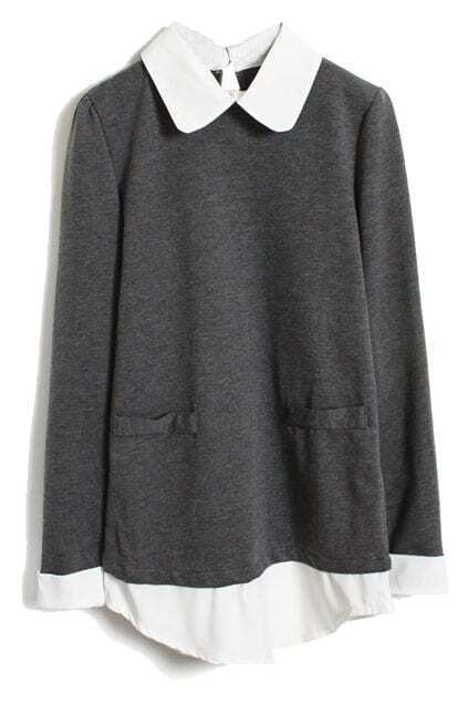 Color Block Fake Two-piece Dark-grey Blouse